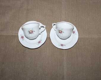 Vintage Tea Cup Sets, a Pair of Cups and Saucers, Made in Wtoctawek,Poland, Children's Size, Not For Play I would Think, One Rose Pattern