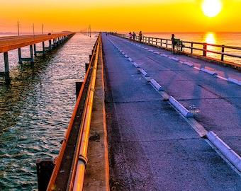 Sunset Bridge, 7 Mile Bridge in the Florida Keys - Fine Art