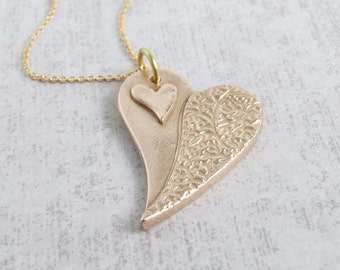 Love Heart Pendant Necklace, Unique Handmade Gold Bronze Contemporary Artisan Jewellery, Valentine/Wedding/Bronze Anniversary gift for her