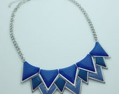 Blue Statement necklace, orange bib necklace, rhinestone necklace, crystal necklace, bridesmaid necklace, necklace, triangle necklace,