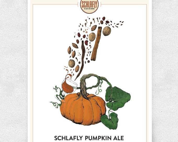 Featured listing image: Pumpkin Beer Art Print, Schlafly Pumpkin Ale, Bar Art, Brewery Art, Illustration / 12x16 Print