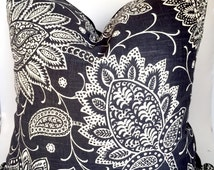 Floral pillow cover - Paisley black and white, faded black linen pillow cover - Throw Boho Pillow