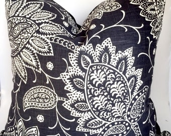 Linen floral pillow cover - Black and Off-White pillow - Paisley pillow - Floral black pillow - Black Linen Pillow - Decorative pillow