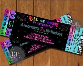 Roller Skate Ticket Birthday Invitation * Digital Party Invitation * You Print
