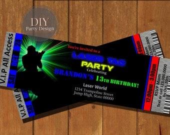 Laser Tag Ticket Birthday Invitation * Digital File Only * You Print