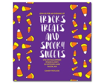 "Halloween Party 5.5"" Square Invitation with hand-drawn candy corn - Tricks, Treats and Spooky Sweets - Printable and Personalized"