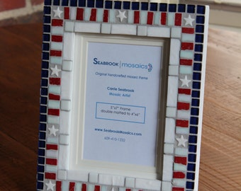Red, White and Blue - Patriotic - Mosaic Picture Frame