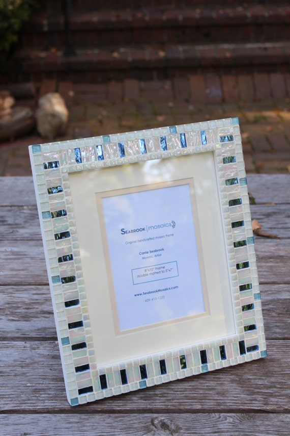 White And Blue Mosaic Picture Frame Wedding Frame