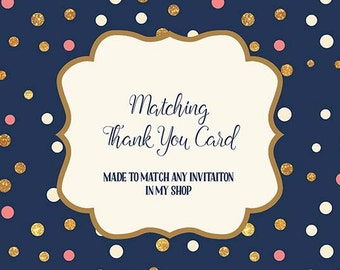 Thank You Card made to match any invitation in my shop, Printable Thank You Card, Digital JPEG PDF