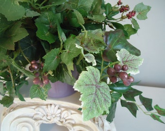 Ivy Silk Plant with Purple Grapes and Red Berries Hanging Vines Berry Arrangement  Table Top Decor   #290