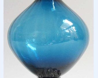 Stylish Vintage ASEDA Aqua/Teal Blue Art Glass Bud Vase