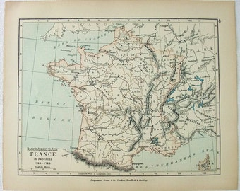 Vintage Map of France in Provinces 1769-1789 - Published by Longmans Green in 1905