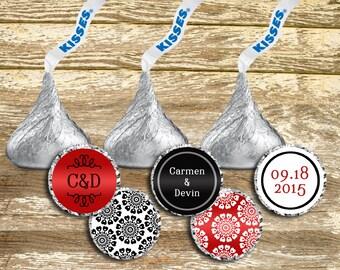 Hershey Kisses Labels - Red Wedding Kisses, Hershey Kisses Stickers, Personalized Wedding, Stickers wedding, wedding stickers