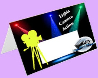 Movie Night Tent Cards, Place Cards, Cinema Tent Cards, Food Labels Instant Download