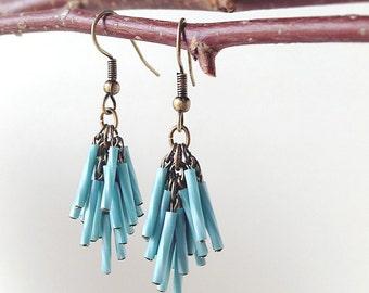 Antique Bronze Dangle Earrings Twisted Glass Tube Beads Tassel - Light Blue