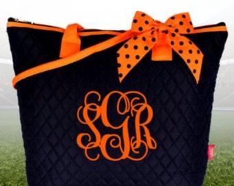 Navy and Orange Quilted Shoulder Bag