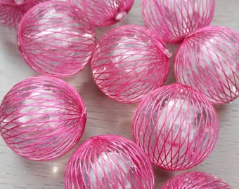 25mm Dark Pink Netted Acrylic Bead