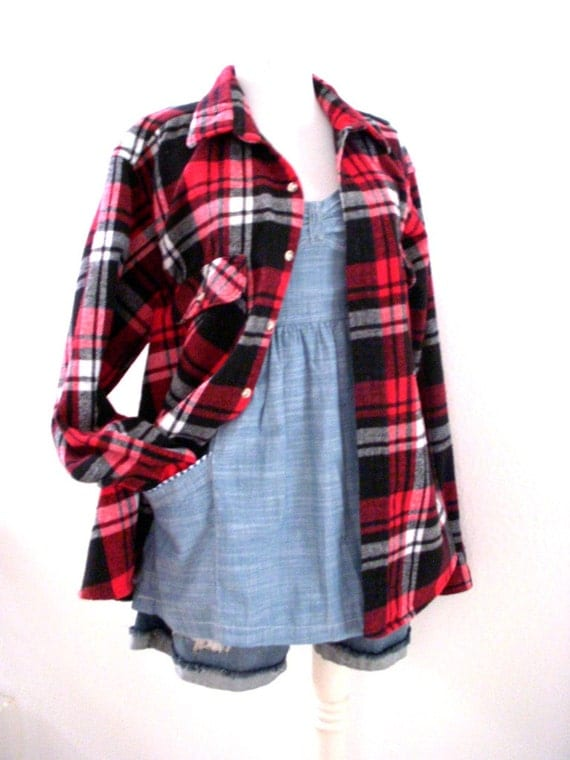 Red plaid flannel shirt vintage 90s mens red by for Heavy plaid flannel shirt