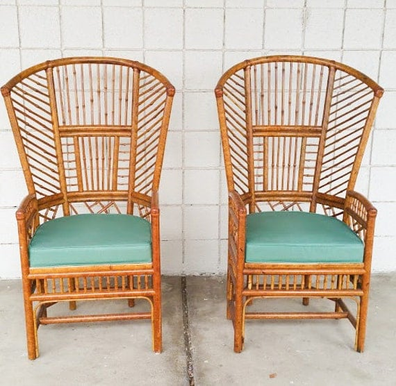 Bamboo Chair With Arms: High Back Brighton Bamboo Fan Arm Chairs