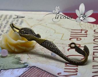 QDW289 bookmarks charms 80x10mm Bronze Mermaid siren manual jewel