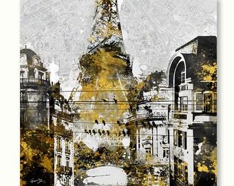 "CHALKBOARD PARIS;Canvas Art by Eric Yang;30""x30"" Paris Eiffel Tower Travel"