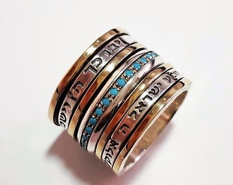 Silver and 9K Gold Spinning Stacking Multi stone Ring with Turquoise stones Wedding Ring Gift for Her Spinner ring