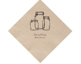 Wedding Napkins with Mason Jars Personalized Set of 100 Napkins Country Rustic Wedding