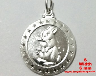 Small Chinese Zodiac Horoscope 999 fine Silver Round Year of Rabbit Pendant charm