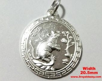 Chinese Zodiac Horoscope 999 fine Silver Round Year of Rat Pendant charm