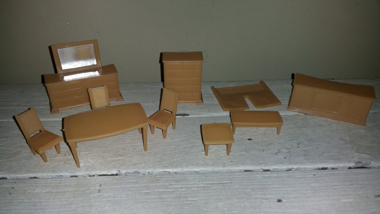 Vintage Miniature Dollhouse Brown Furniture By Rustyboutique