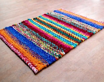 Twined Rag Rug Multi Color Rainbow 36 x 27 inches