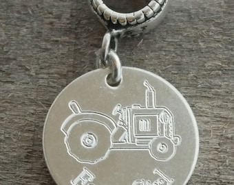 Farm Girl Personalized Engraved Charm Bead
