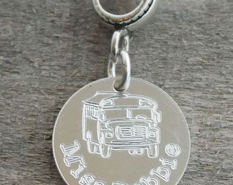 School Bus Personalized Engraved Charm Bead