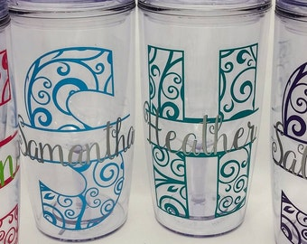 Custom Wine Tumbler, Wine Mate, No spill wine mug, Double Walled Wine Sipper with lid, Personalized Wine2go vinyl decal, Vino2go, monogram