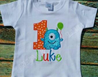 Little Monster Birthday Shirt with Balloon
