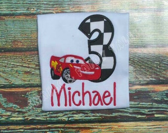 Disney Cars Birthday Custom Embroider Shirt ANY Lightning McQueen Mater Outfit Shorts