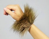 Brown Fluffy Rave Wrist Bands FREE SHIPPING: Handmade Brown Faux Fur Wrist Cuffs for Raves, EDC Costumes, Fluffies wrist bands