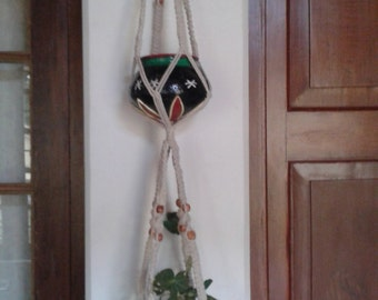 Free shipping -   double /2 tiered plant  hanger / pot holder / hanging planter indoor /outdoor / cotton cord