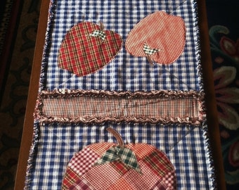 "Rag Quilt Table Runner ~ Patchwork Apples ~ 16"" x 45"" ~ Country Homespun ~ Country Cottage ~ Handmade ~ Best Selling Item"