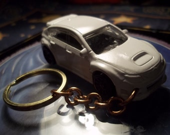custom made keychain,2008 to 2012 suburu wrx-sti,gloss white w/black mags/hand made chain and jumprings-repaint-mint