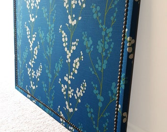 Blue and Green Designer Fabric Covered Cork Board with Nailhead Trim Detailing