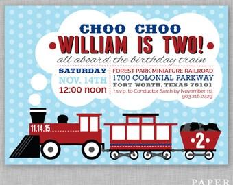 Choo Choo I'm Two Birthday Invitation
