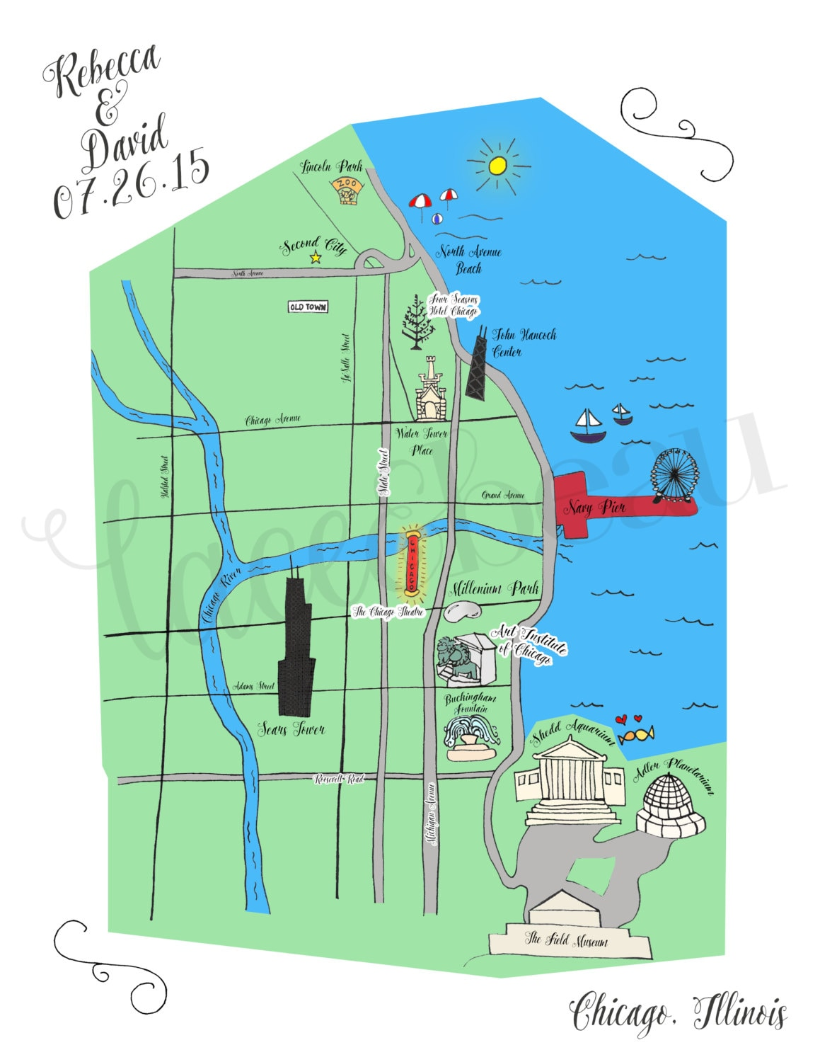 Custom Wedding Map Chicago Wedding Map Save The Date Wedding - Chicago map north avenue beach