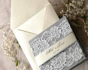 Ivory Grey Wedding Invitation(20), Lace Ecru Wedding Invitations, Vintage Grey Wedding invitation, 4lovepolkadots,