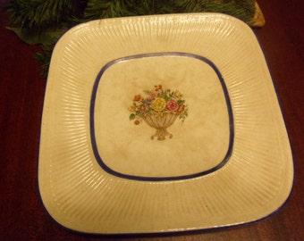 Rorstand Plate, Diana Floral Basket, Spray Blue Trim 9 inches diameter