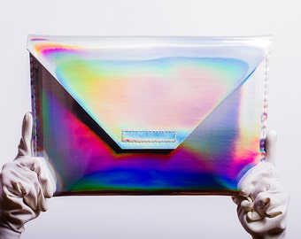 silver holographic notebook case for Apple Macbook