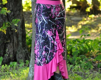 Muddy Girl, Ruffled Women's Long Maxi Skirt, Moonshine Camo, Made in USA, Custom Made, Muddy Girl Camo, Women's, Teens, Maxi Skirt,Plus Size