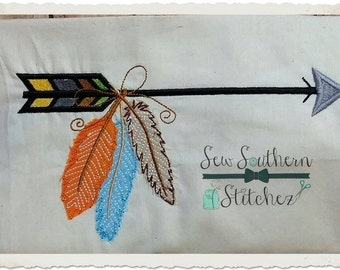 Arrow Embroidery Design with Feathers ~ Instant Download