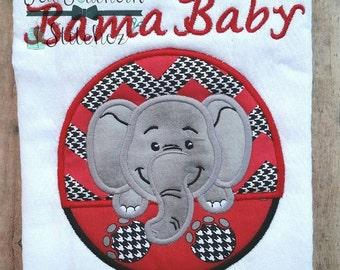 Elephant Circle Applique ~ Elephant Mascot ~ Instant Download