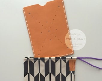 Leather Cover:  Kindle Keyboard-3G Cover (Orange) - L002 - Genuine Cow Leather